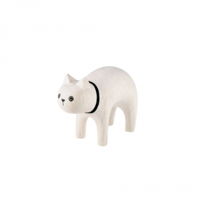"""Chat blanc en bois """"Pole Pole"""""""
