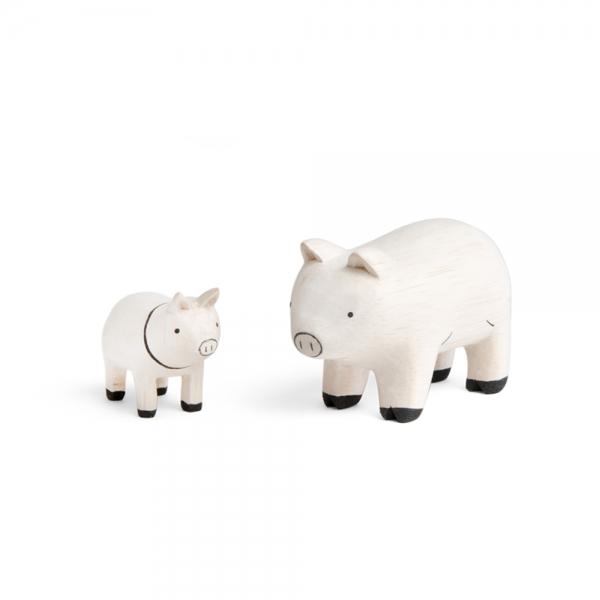 "Pig family en bois ""Pole Pole"""