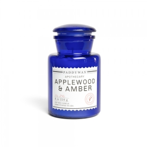 "Bougie ""Blue Apothecary"" - Applewood & Ambre - Paddywax"