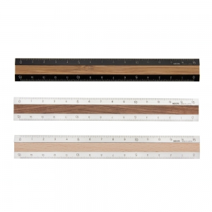 Aluminium and wood ruler
