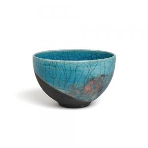 Turquoise raku bowl - M