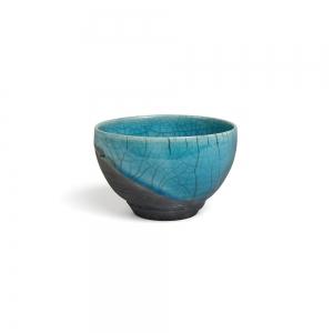 Turquoise raku bowl - S