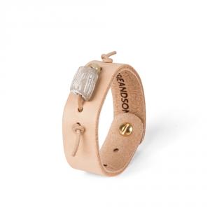 Bracelet en cuir N°2 - Perle de grès beige