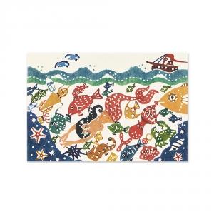 Carte postale - La sirène et le fond marin