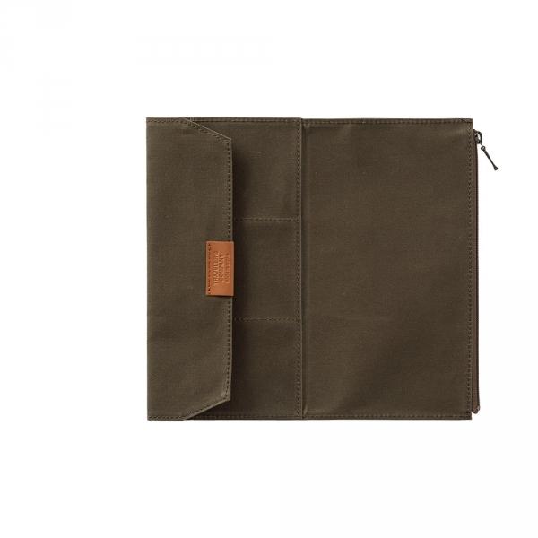 Cotton zipper case ( regular ) Traveler's Notebook - Olive