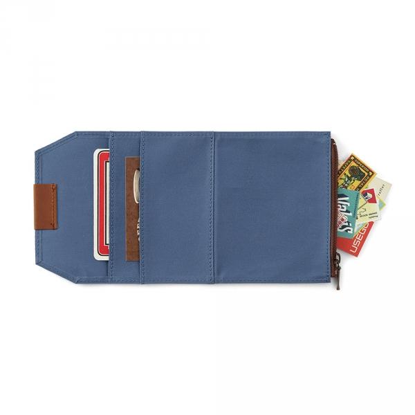 Cotton zipper case ( passport ) Traveler's Notebook - Blue